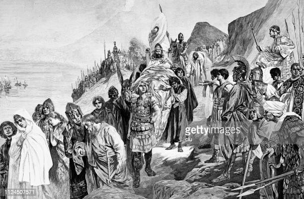 withdrawal of the goths after the battle of vesuvius - mt vesuvius stock illustrations, clip art, cartoons, & icons
