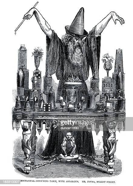 wizard at his conjuring table - wizard stock illustrations