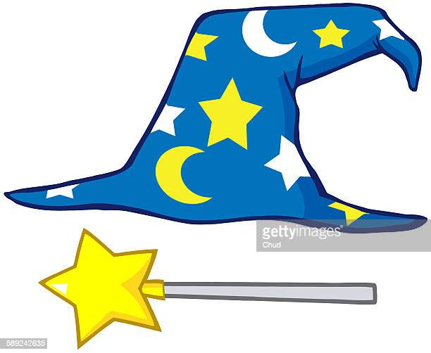 wizard hat and magic stick - wizard stock illustrations, clip art, cartoons, & icons