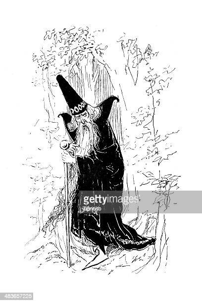 wizard in the forest - wizard stock illustrations, clip art, cartoons, & icons