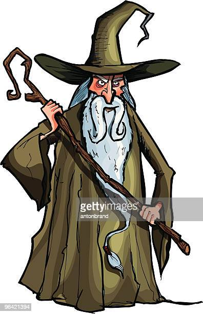 wizard with a staff - wizard stock illustrations