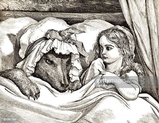 wolf and girl - victorian steel engraving - little red riding hood stock illustrations, clip art, cartoons, & icons