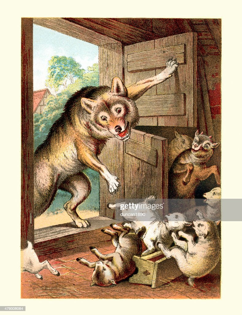 Wolf and the Seven Young Kids : Stock Illustration