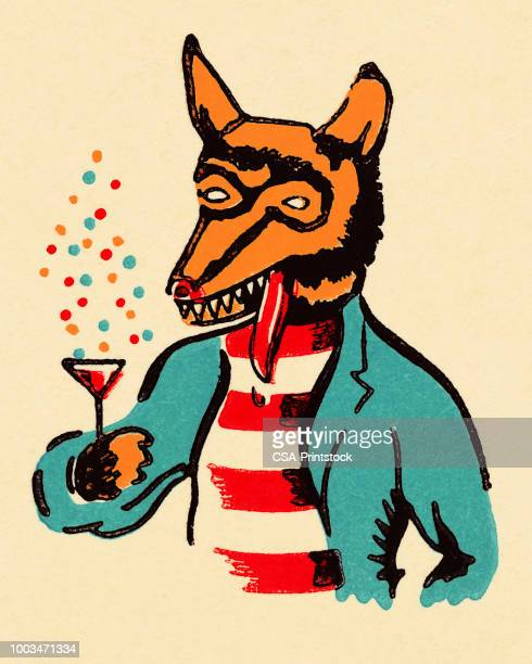 wolf holding a cocktail - bizarre stock illustrations