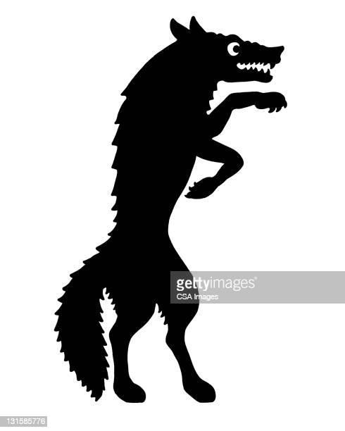 ilustraciones, imágenes clip art, dibujos animados e iconos de stock de wolf standing - gradas