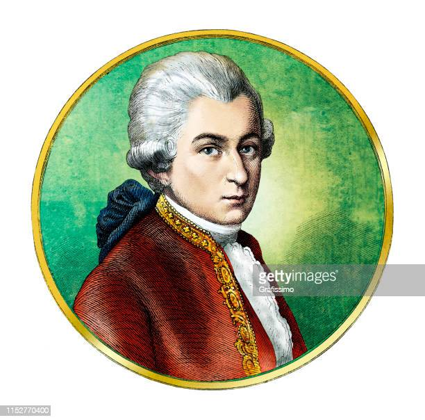 wolfgang amadeus mozart austrian composer portrait - classical stock illustrations