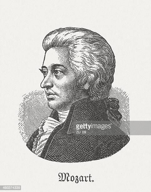 wolfgang amadeus mozart (1756-1791), austrian composer, wood engraving, published 1881 - wolfgang amadeus mozart stock illustrations