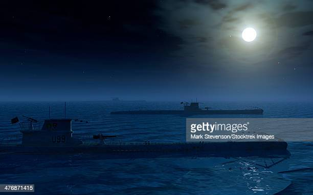 a wolfpack of german u-boat submarines travelling across a calm atlantic ocean by moonlight. - submarine stock illustrations