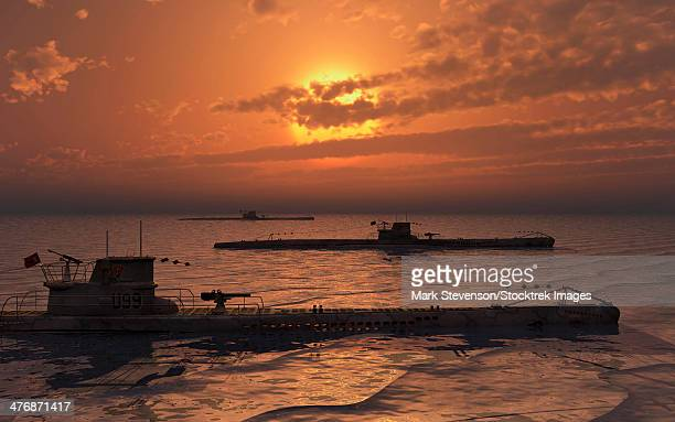 a wolfpack of german u-boat submarines travelling across a calm atlantic ocean at sunset. - submarine stock illustrations