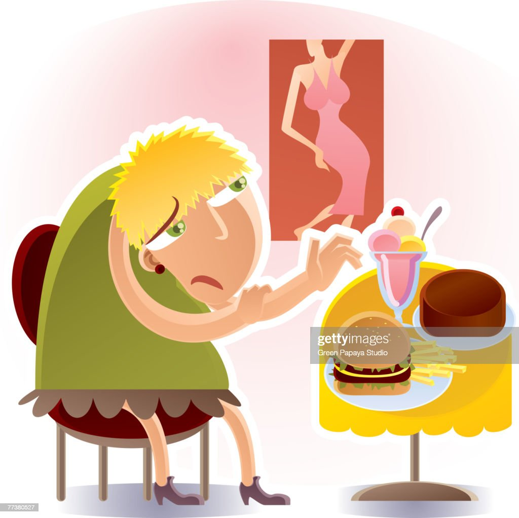 Woman and diet : Illustration