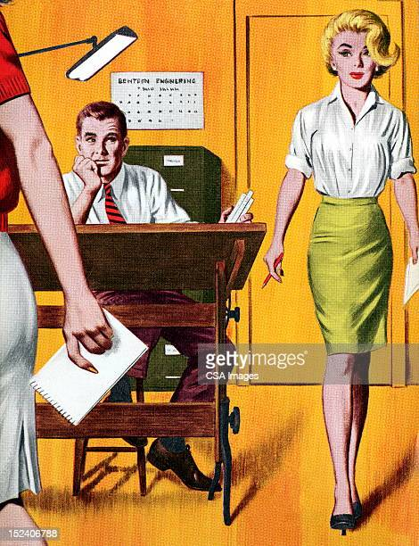 woman and man in office - beautiful woman stock illustrations, clip art, cartoons, & icons