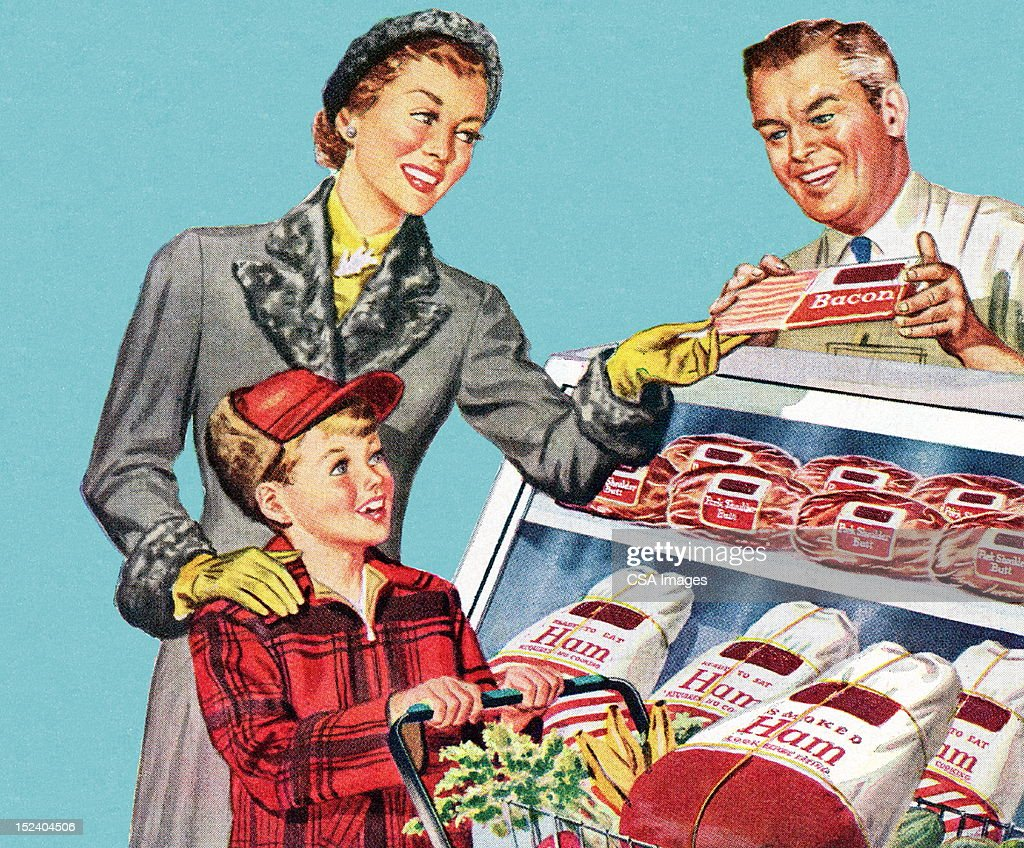 Woman and Son at the Butcher Shop : stock illustration