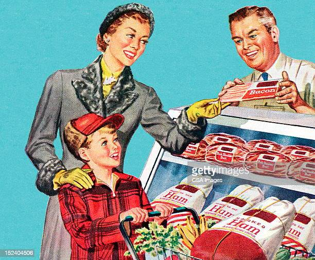 woman and son at the butcher shop - retro style stock illustrations