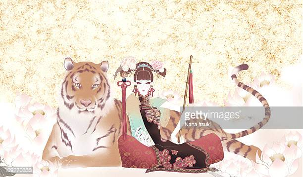 A woman and tiger