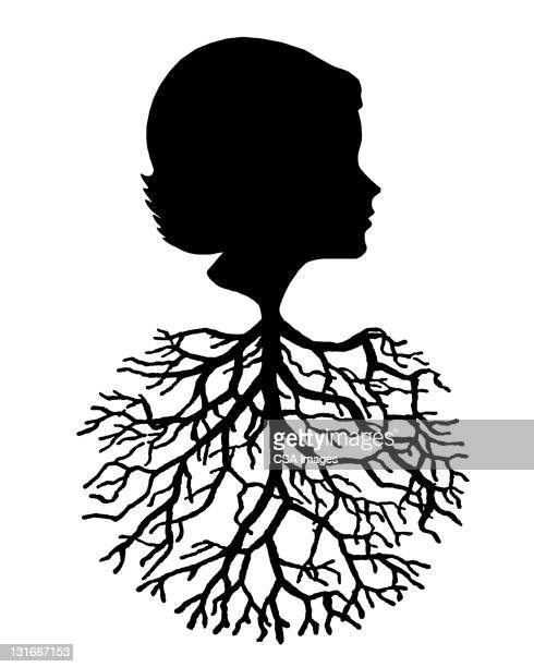 woman and tree - root stock illustrations, clip art, cartoons, & icons