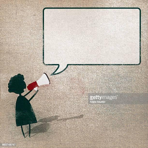 woman announcing through megaphone against speech bubble - thought bubble stock illustrations