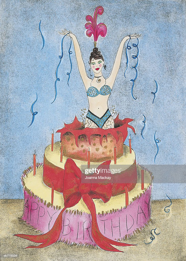 Woman Appearing From A Birthday Cake Stock Illustration