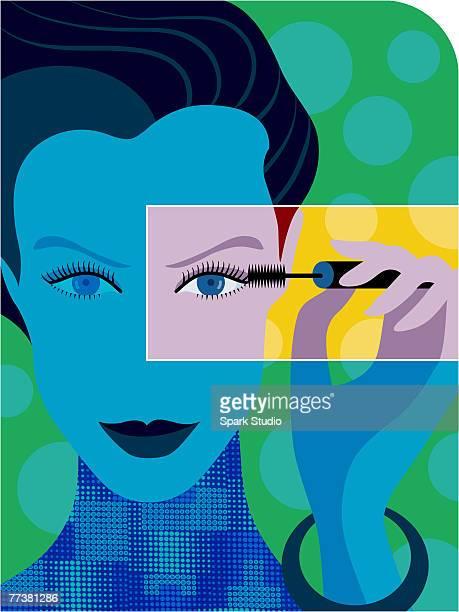a woman applying mascara - eye make up stock illustrations, clip art, cartoons, & icons