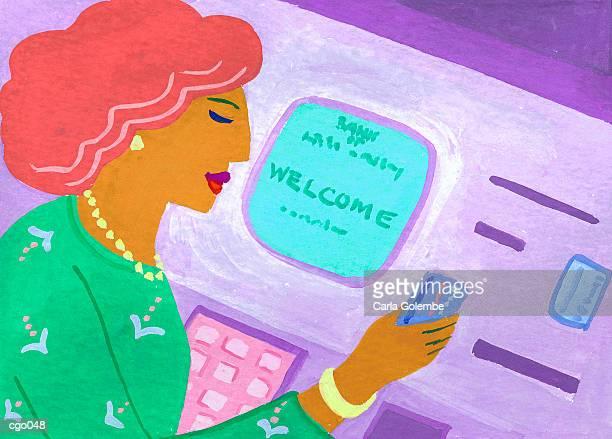 Woman at ATM Machine