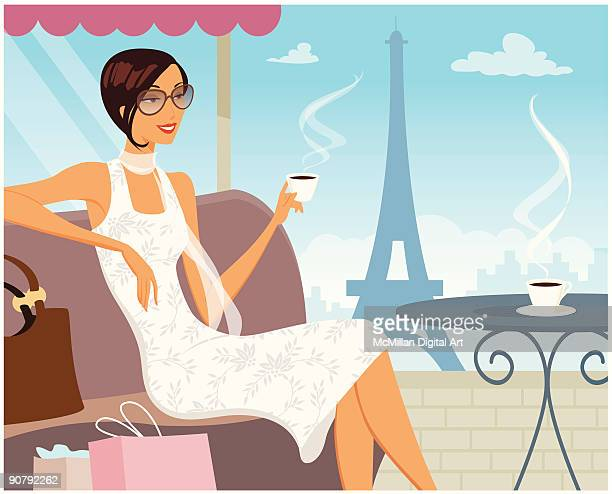 woman at café, eiffel tower in background - nice france stock illustrations, clip art, cartoons, & icons