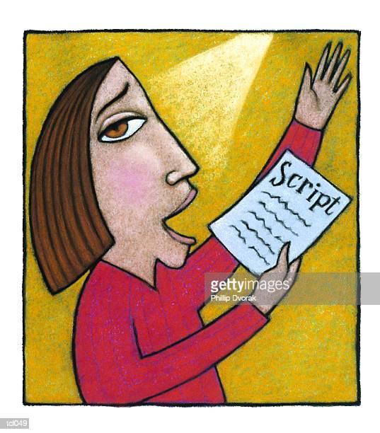 woman auditioning - film script stock illustrations, clip art, cartoons, & icons