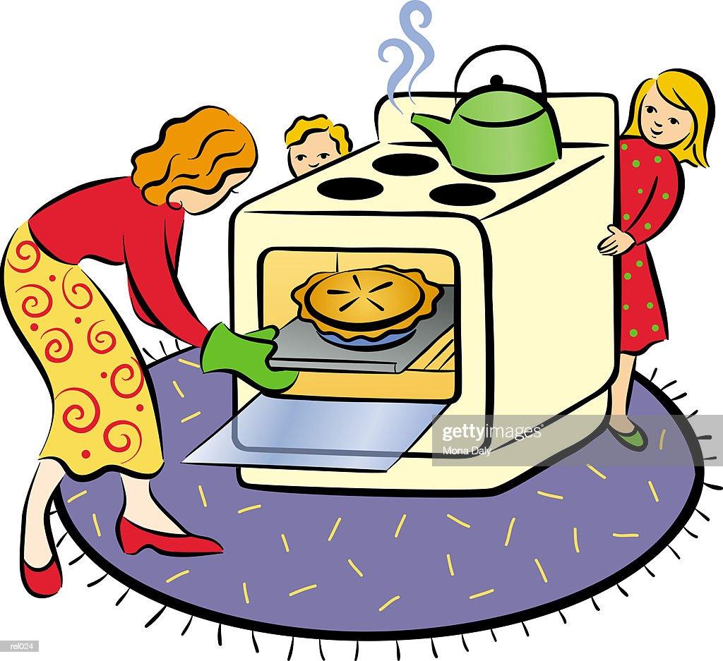 Woman Baking Pie : Ilustração de stock