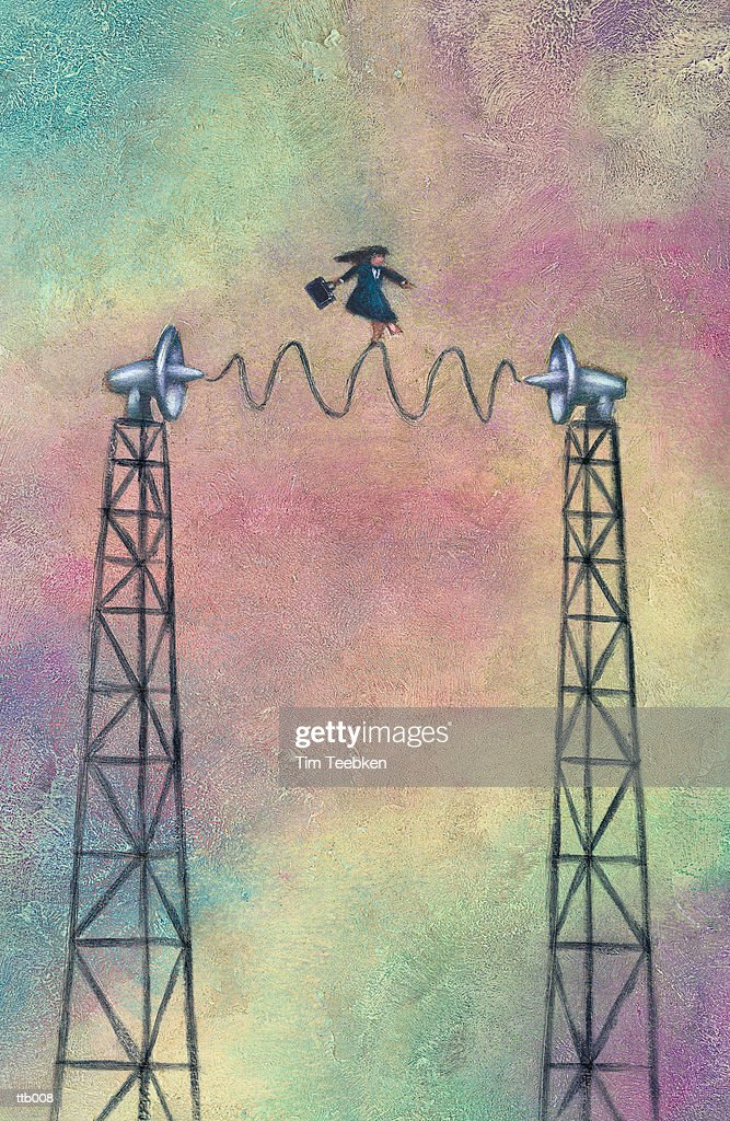 Woman Balancing on Radio Waves : Stock Illustration