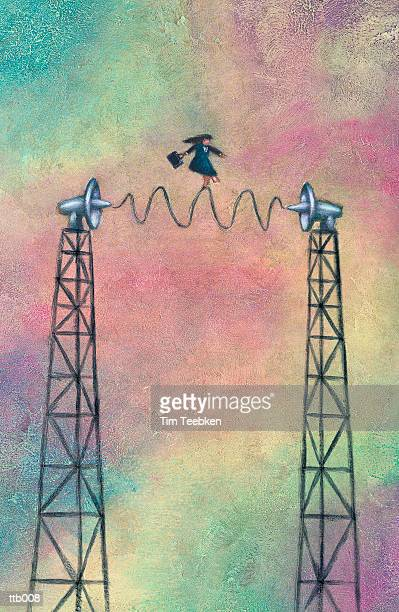 Woman Balancing on Radio Waves