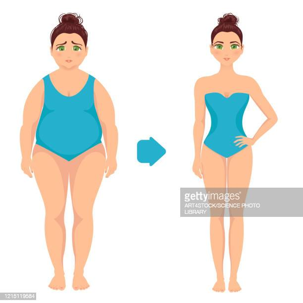 woman before and after weight loss, illustration - anticipation stock illustrations