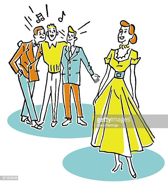 a woman being admired by a group of young men - tiziano vecellio stock illustrations, clip art, cartoons, & icons