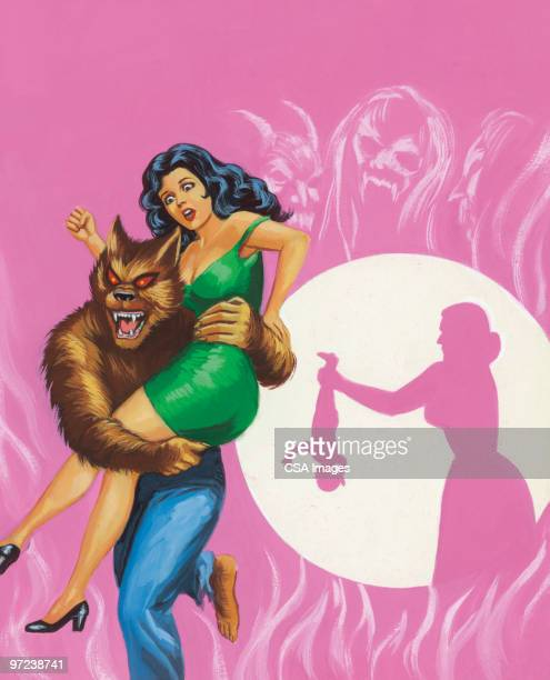 woman being carried away by werewolf - zombie stock illustrations, clip art, cartoons, & icons