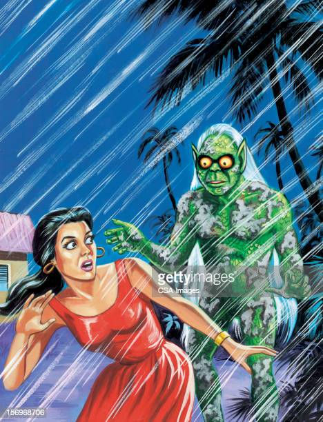 woman being chased by monster in the rain - one mid adult woman only stock illustrations