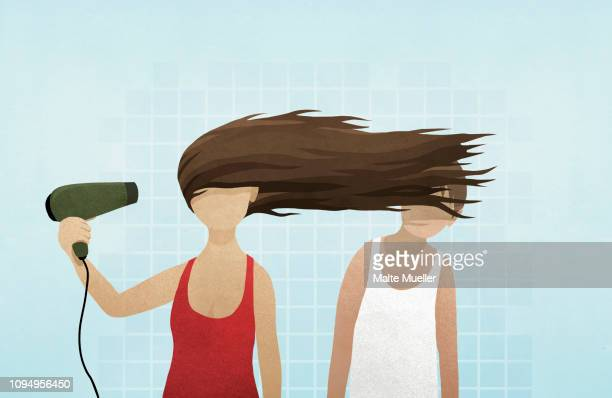 woman blow drying hair in mans face - bathroom stock illustrations