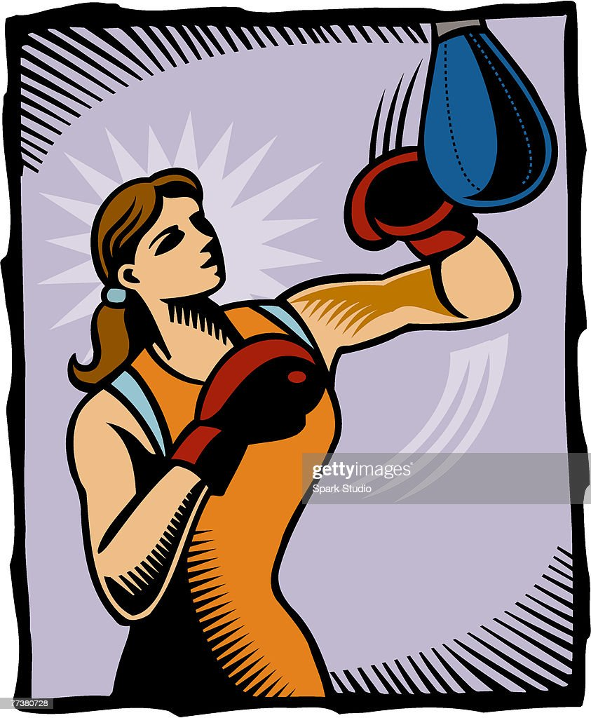 A woman boxing a punch bag : Illustration