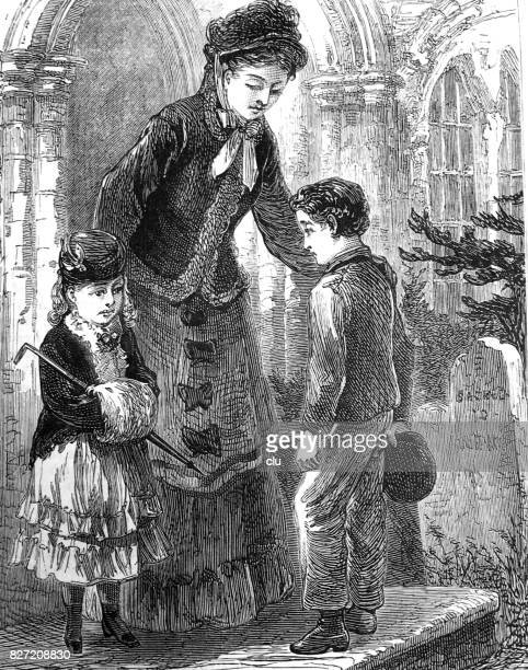 Woman, boy and girl standing at the door, speaking