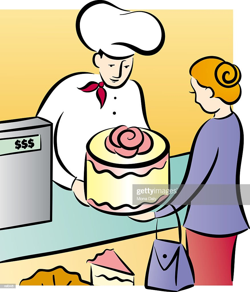 Woman Buying Cake : Stock Illustration