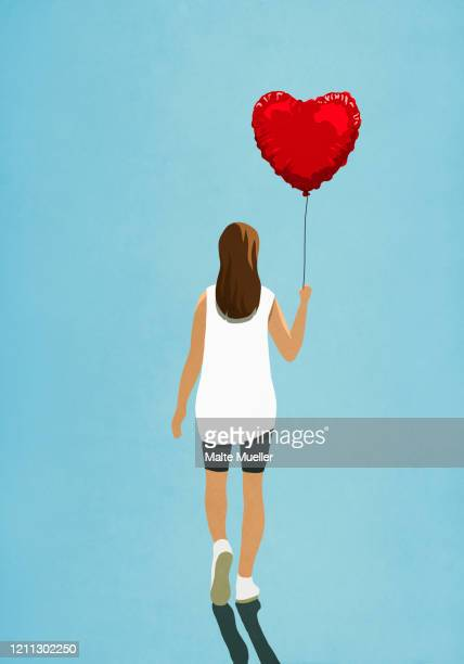 woman carrying heart shape helium balloon - rear view stock illustrations