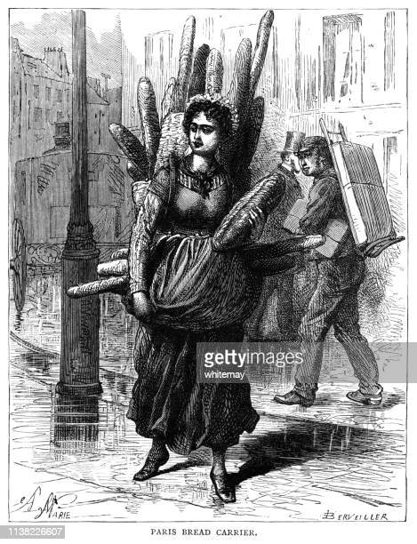 woman carrying loaves of bread in a street in paris, france - baker occupation stock illustrations
