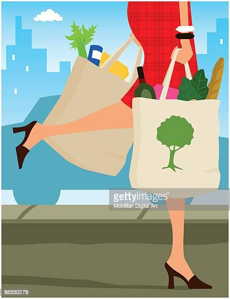 ilustrações, clipart, desenhos animados e ícones de woman carrying reusable fabric shopping bags - vegetais