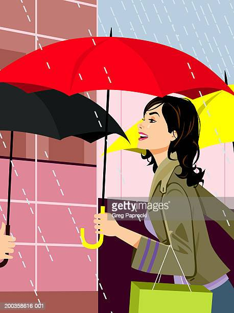woman carrying shopping bag and umbrella in rain, side view - rain stock illustrations