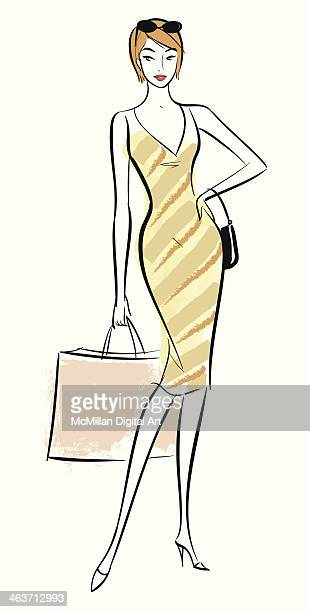 woman carrying shopping bag - sleeveless stock illustrations, clip art, cartoons, & icons