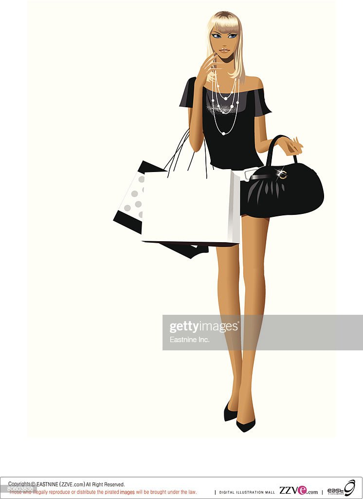 Woman Carrying Shopping Bags And A Hand Bag High Res Vector Graphic Getty Images