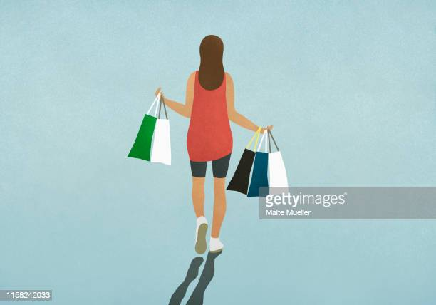 woman carrying shopping bags - consumerism stock illustrations