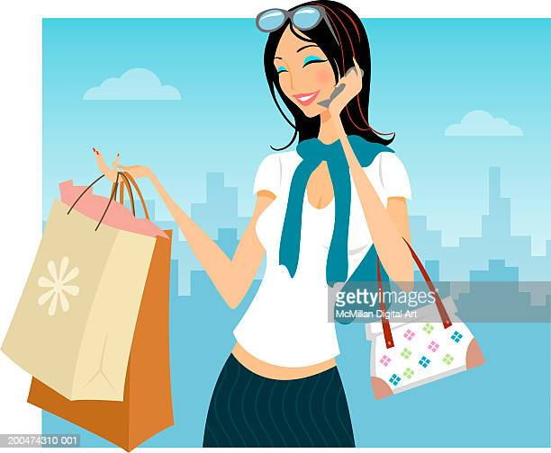 woman carrying shopping bags, talking on cell phone - sunglasses stock illustrations