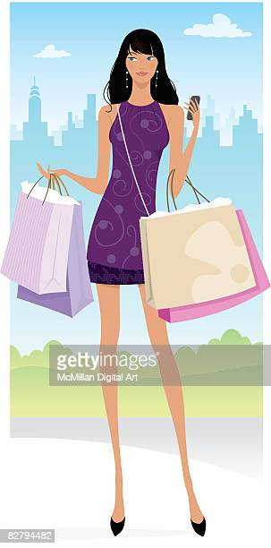 woman carrying shopping bags, using cell phone - spending money stock illustrations, clip art, cartoons, & icons