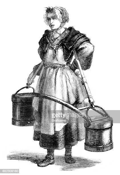 illustrations, cliparts, dessins animés et icônes de femme eau seau paris 1774 - seau