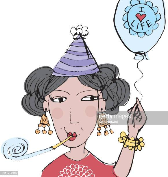 a woman celebrating life - menopause stock illustrations, clip art, cartoons, & icons