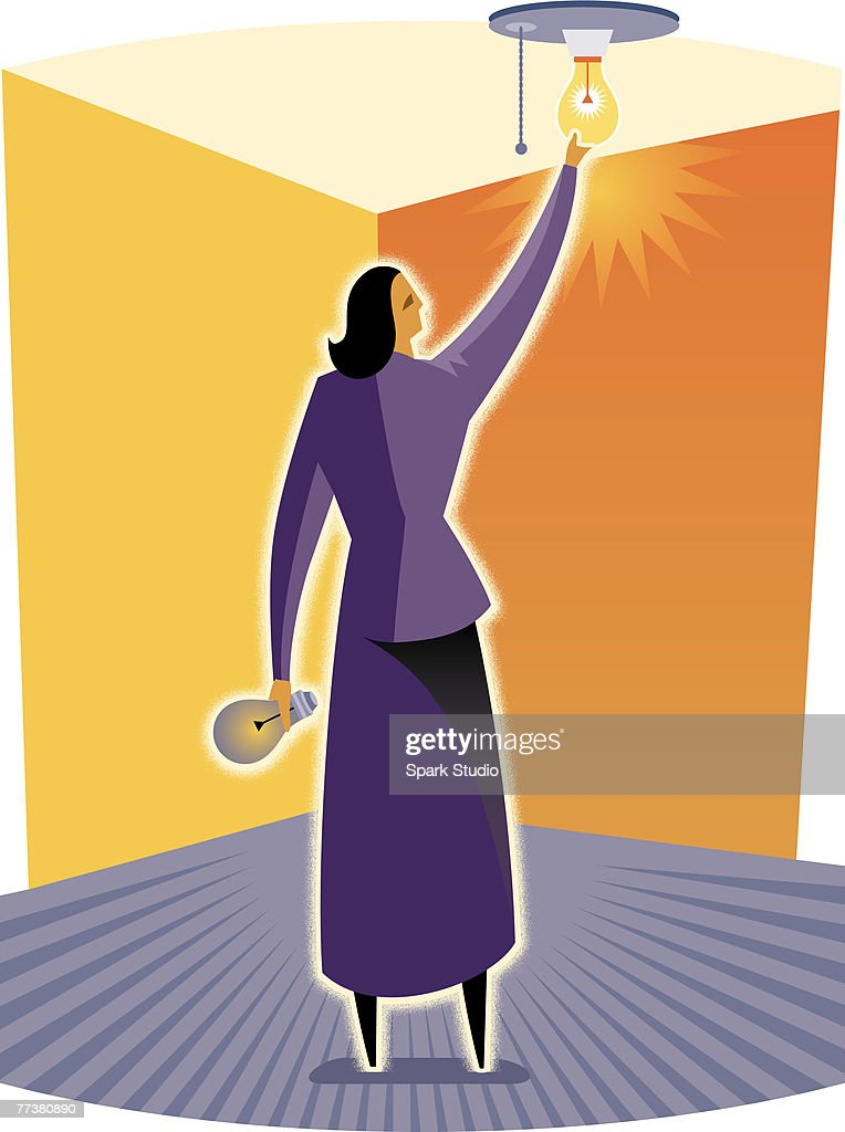 A woman changing a light bulb : Illustration
