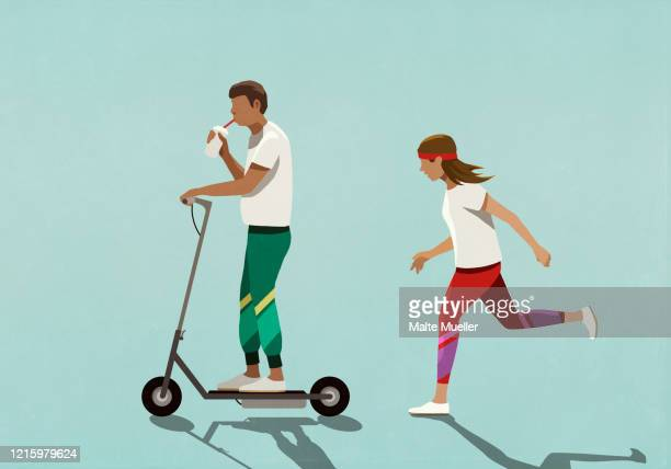 woman chasing boyfriend riding motorized scooter - food and drink stock illustrations