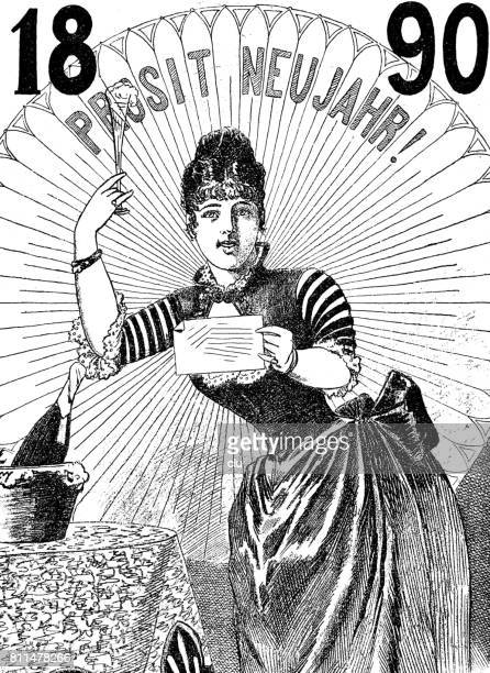 woman cheering for the new year 1890 - 1890 1899 stock illustrations